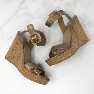 Stuart Weitzman Metallic Cork Wedge Sandals 6.5